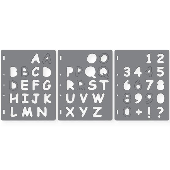 Трафарет ShapeTemplate™ Письма №3 - Прописные буквы и цифры